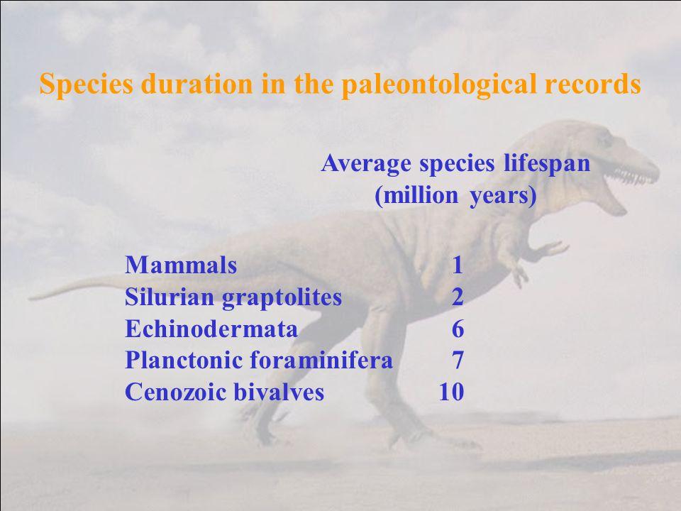 Species duration in the paleontological records Average species lifespan (million years) Mammals1 Silurian graptolites2 Echinodermata6 Planctonic fora