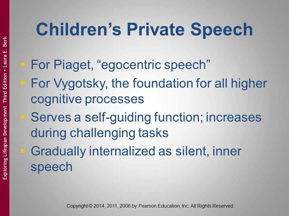 "Children's Private Speech  For Piaget, ""egocentric speech""  For Vygotsky, the foundation for all higher cognitive processes  Serves a self-guiding"