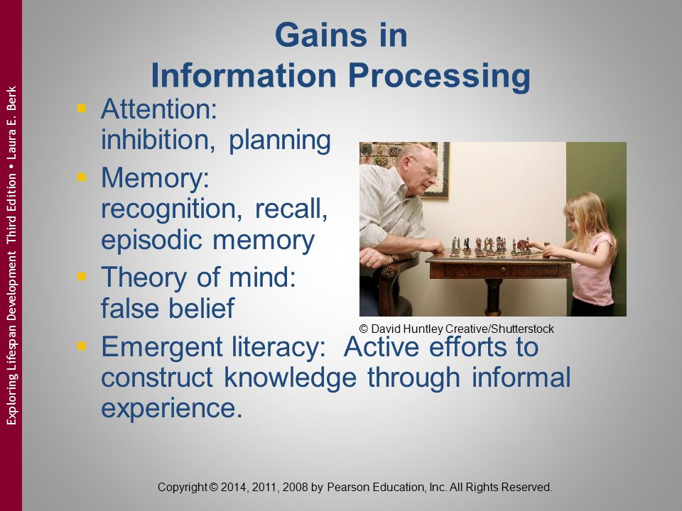 Gains in Information Processing  Attention: inhibition, planning  Memory: recognition, recall, episodic memory  Theory of mind: false belief  Emer