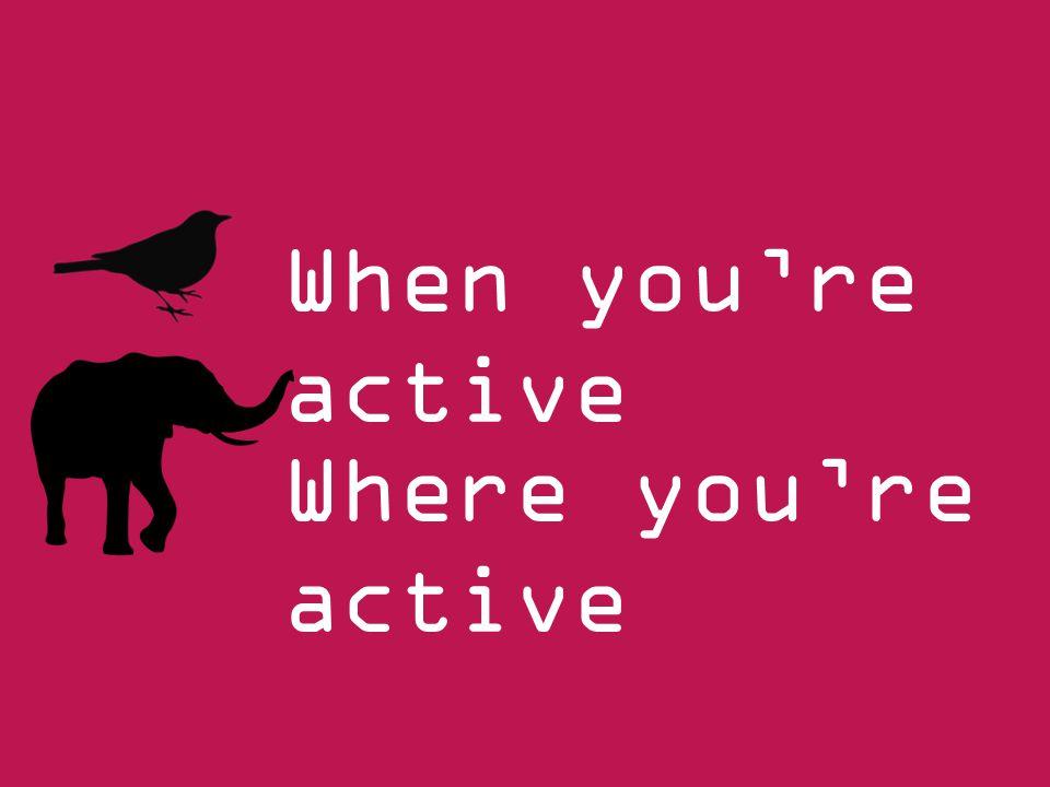 When you're active Where you're active