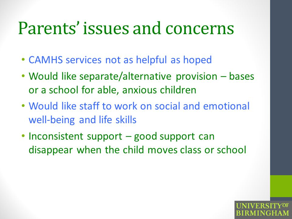 Parents' issues and concerns CAMHS services not as helpful as hoped Would like separate/alternative provision – bases or a school for able, anxious children Would like staff to work on social and emotional well-being and life skills Inconsistent support – good support can disappear when the child moves class or school