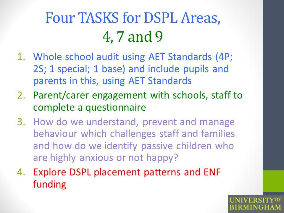 Four TASKS for DSPL Areas, 4, 7 and 9 1.Whole school audit using AET Standards (4P; 2S; 1 special; 1 base) and include pupils and parents in this, using AET Standards 2.Parent/carer engagement with schools, staff to complete a questionnaire 3.How do we understand, prevent and manage behaviour which challenges staff and families and how do we identify passive children who are highly anxious or not happy.