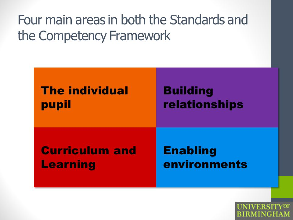 Four main areas in both the Standards and the Competency Framework