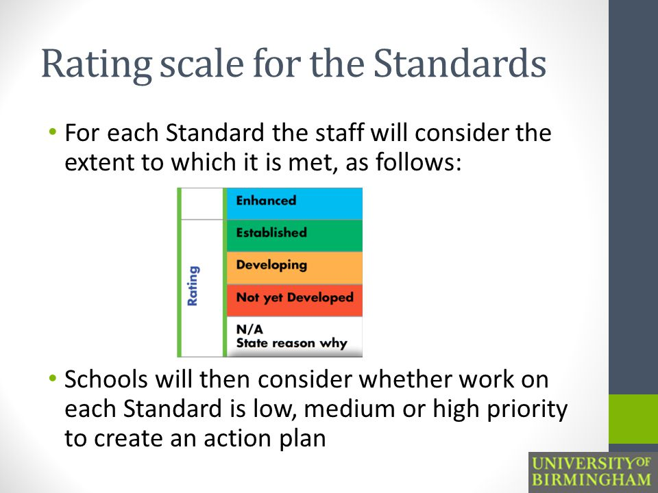 Rating scale for the Standards For each Standard the staff will consider the extent to which it is met, as follows: Schools will then consider whether work on each Standard is low, medium or high priority to create an action plan