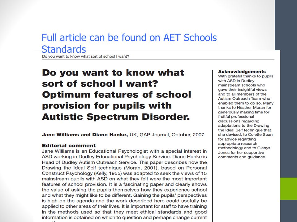 Full article can be found on AET Schools Standards