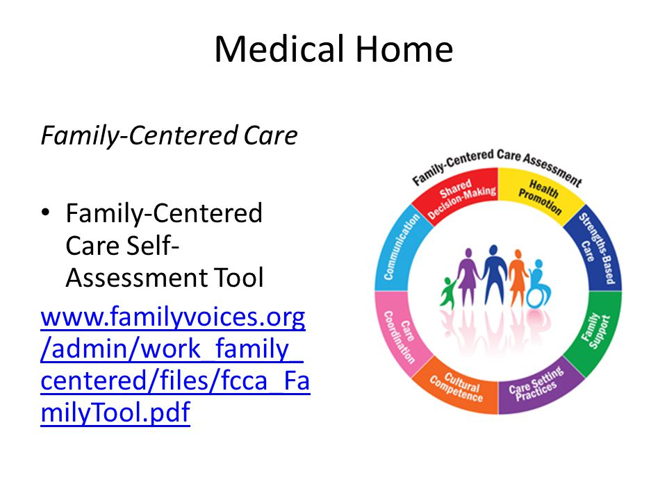 Medical Home Family-Centered Care Family-Centered Care Self- Assessment Tool www.familyvoices.org /admin/work_family_ centered/files/fcca_Fa milyTool.pdf