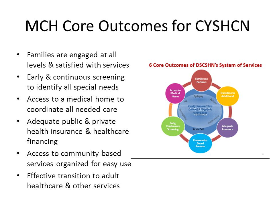 MCH Core Outcomes for CYSHCN Families are engaged at all levels & satisfied with services Early & continuous screening to identify all special needs Access to a medical home to coordinate all needed care Adequate public & private health insurance & healthcare financing Access to community-based services organized for easy use Effective transition to adult healthcare & other services