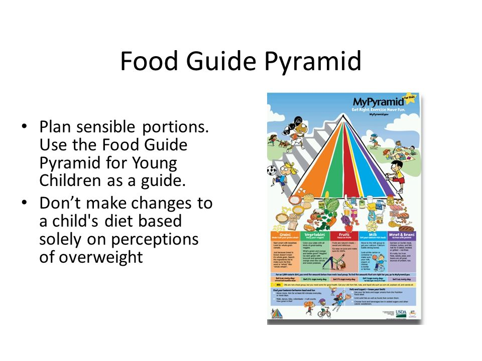 Food Guide Pyramid Plan sensible portions.