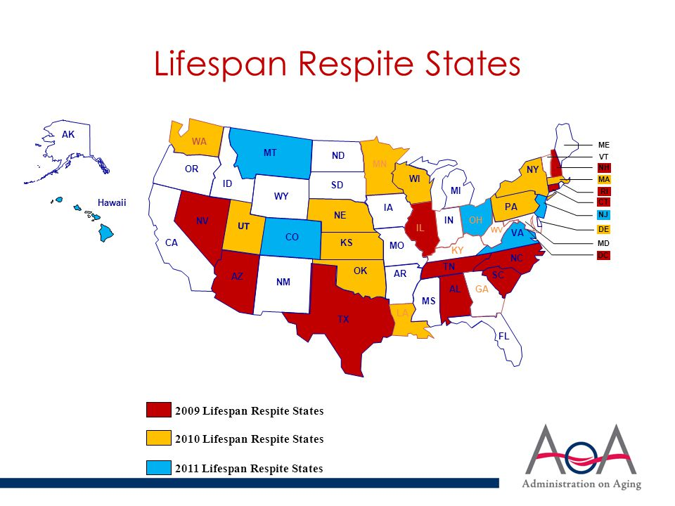 Lifespan Respite Grantee Activities Environmental Scans/Needs Assessments Defining Stakeholder Roles (ADRCs, Coalitions, Others) Connecting ADRCs and Respite Coalitions Public Awareness Campaigns Website/Database Development & Expansion Partnerships with the Faith Community Volunteer Training and Recruitment Respite Provision – Gap Filling Provider Training Protective Services Partnerships/Emergency Respite