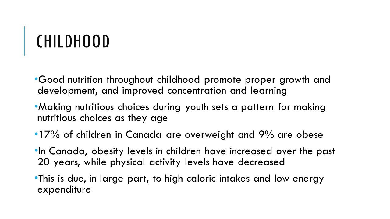 CHILDHOOD Good nutrition throughout childhood promote proper growth and development, and improved concentration and learning Making nutritious choices