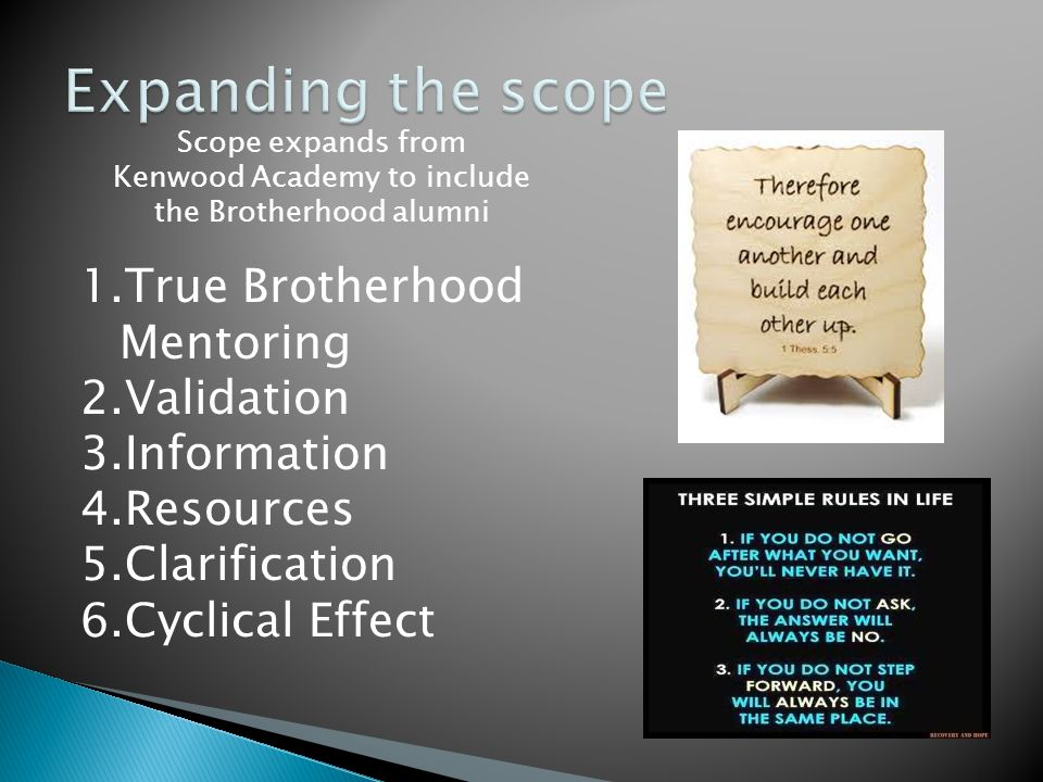 Scope expands from Kenwood Academy to include the Brotherhood alumni 1.True Brotherhood Mentoring 2.Validation 3.Information 4.Resources 5.Clarification 6.Cyclical Effect