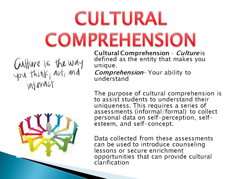 Cultural Comprehension – Culture is defined as the entity that makes you unique.