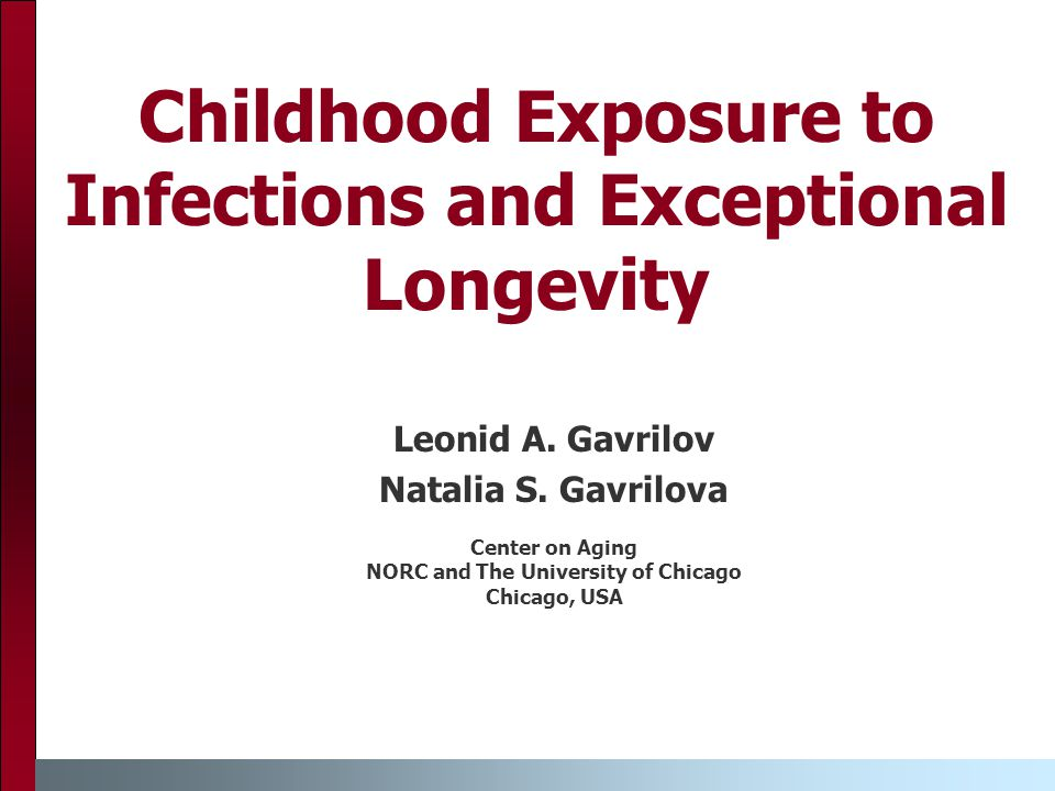 Childhood Exposure to Infections and Exceptional Longevity Leonid A.