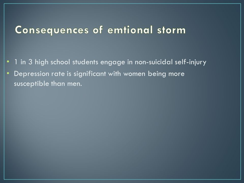 1 in 3 high school students engage in non-suicidal self-injury Depression rate is significant with women being more susceptible than men.