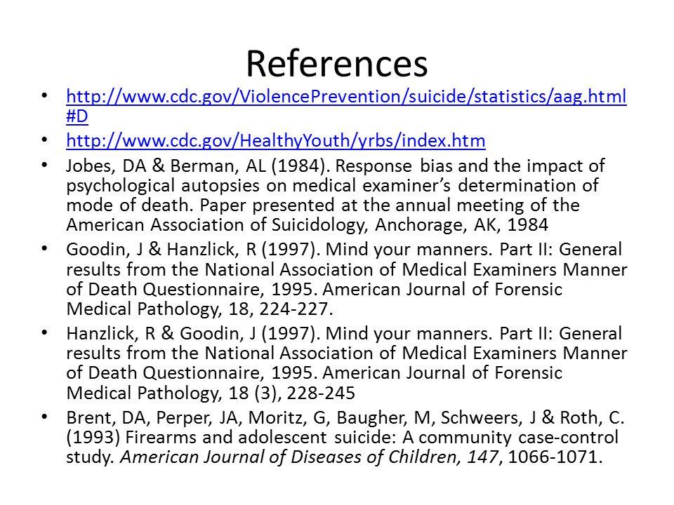 References http://www.cdc.gov/ViolencePrevention/suicide/statistics/aag.html #D http://www.cdc.gov/ViolencePrevention/suicide/statistics/aag.html #D http://www.cdc.gov/HealthyYouth/yrbs/index.htm Jobes, DA & Berman, AL (1984).