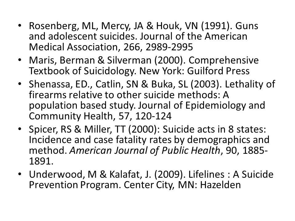 Rosenberg, ML, Mercy, JA & Houk, VN (1991). Guns and adolescent suicides.