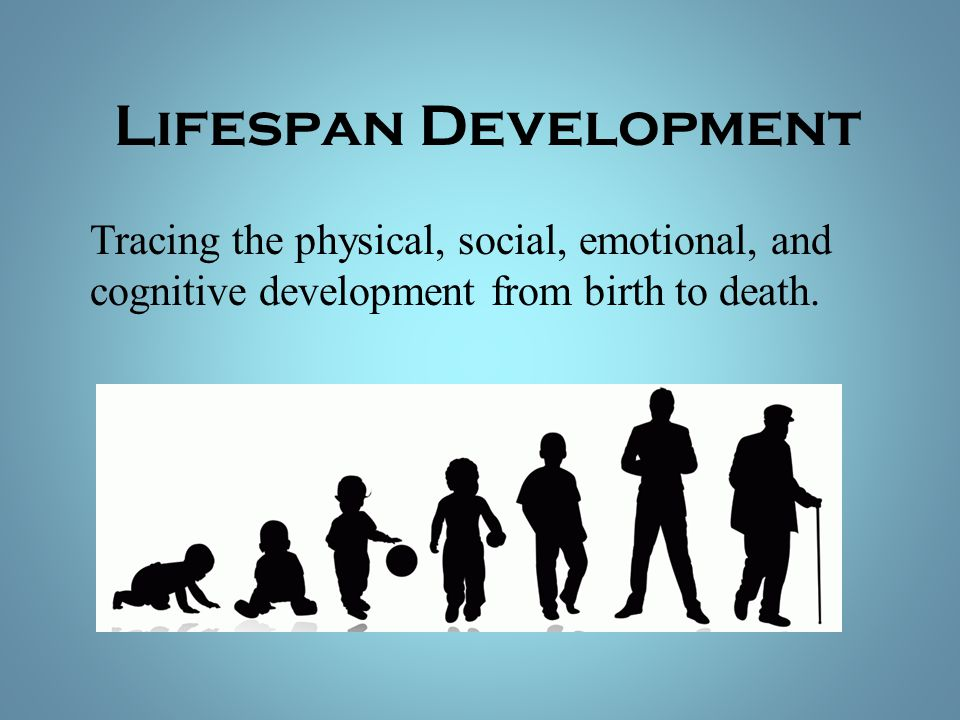 Lifespan Development Tracing the physical, social, emotional, and cognitive development from birth to death.