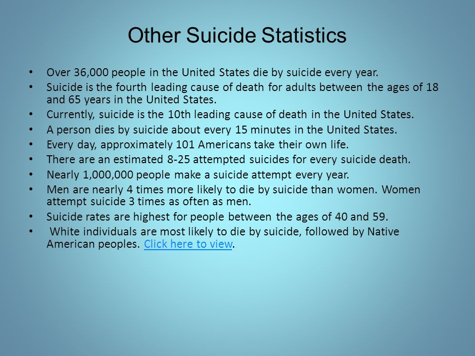 Over 36,000 people in the United States die by suicide every year. Suicide is the fourth leading cause of death for adults between the ages of 18 and