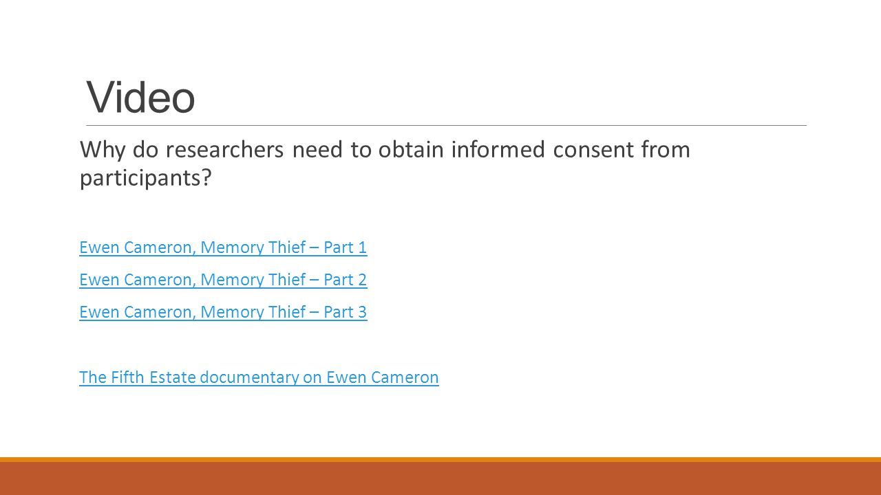 Video Why do researchers need to obtain informed consent from participants.