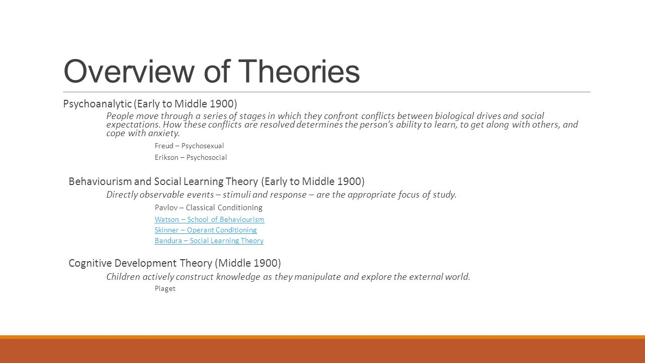 Overview of Theories Psychoanalytic (Early to Middle 1900) People move through a series of stages in which they confront conflicts between biological drives and social expectations.
