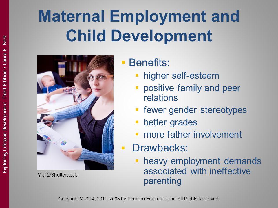 Maternal Employment and Child Development  Benefits:  higher self-esteem  positive family and peer relations  fewer gender stereotypes  better gr