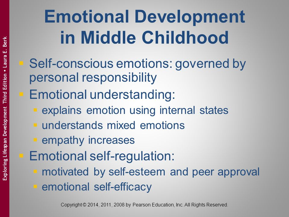 Emotional Development in Middle Childhood  Self-conscious emotions: governed by personal responsibility  Emotional understanding:  explains emotion