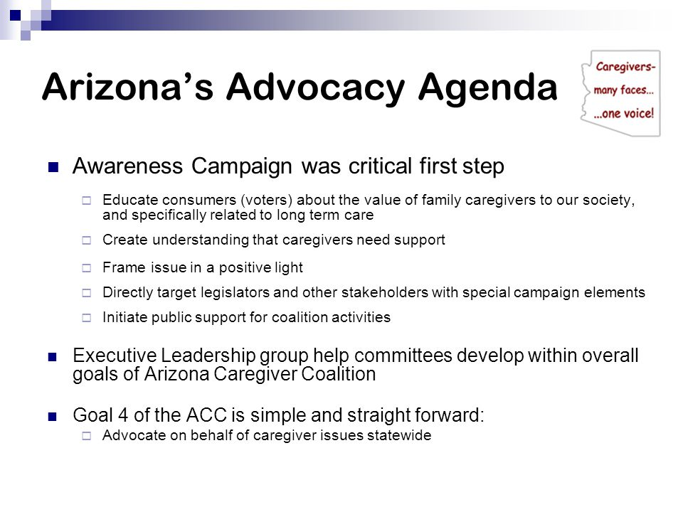 Arizona's Advocacy Agenda Awareness Campaign was critical first step  Educate consumers (voters) about the value of family caregivers to our society, and specifically related to long term care  Create understanding that caregivers need support  Frame issue in a positive light  Directly target legislators and other stakeholders with special campaign elements  Initiate public support for coalition activities Executive Leadership group help committees develop within overall goals of Arizona Caregiver Coalition Goal 4 of the ACC is simple and straight forward:  Advocate on behalf of caregiver issues statewide
