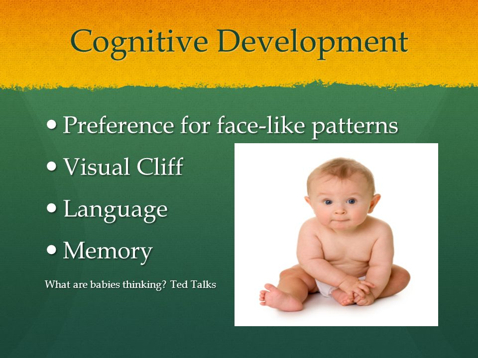Cognitive Development Preference for face-like patterns Preference for face-like patterns Visual Cliff Visual Cliff Language Language Memory Memory Wh