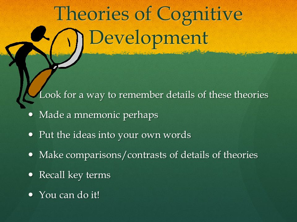 Theories of Cognitive Development Look for a way to remember details of these theories Look for a way to remember details of these theories Made a mne