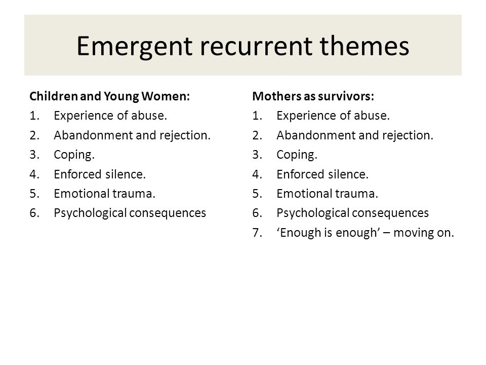 Emergent recurrent themes Children and Young Women: 1.Experience of abuse.