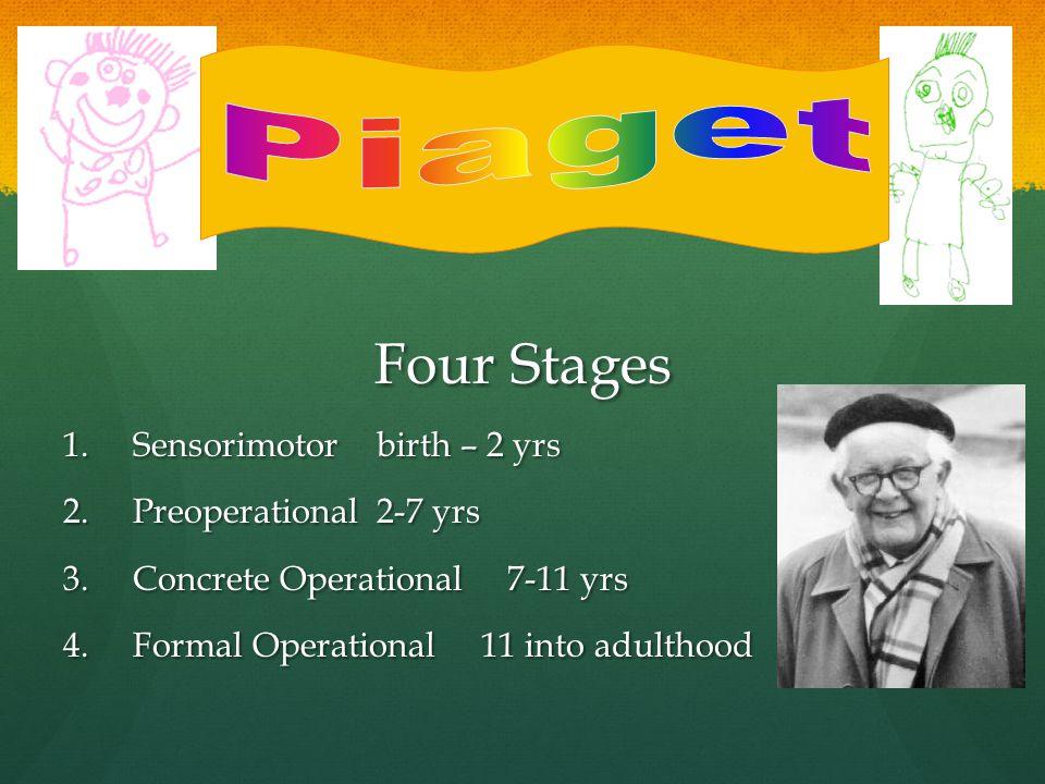 Four Stages 1.Sensorimotorbirth – 2 yrs 2.Preoperational2-7 yrs 3.Concrete Operational 7-11 yrs 4.Formal Operational11 into adulthood