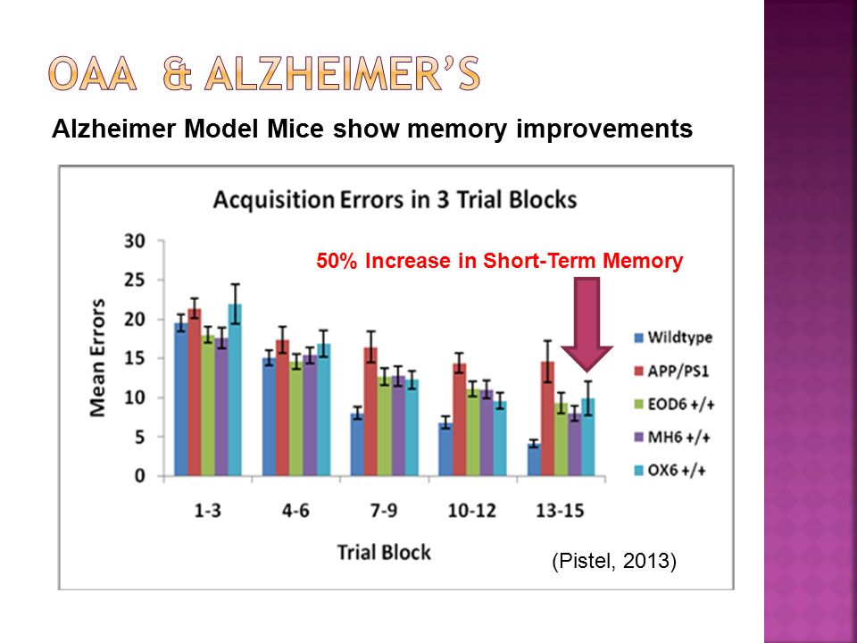 Alzheimer Model Mice show memory improvements 50% Increase in Short-Term Memory (Pistel, 2013)