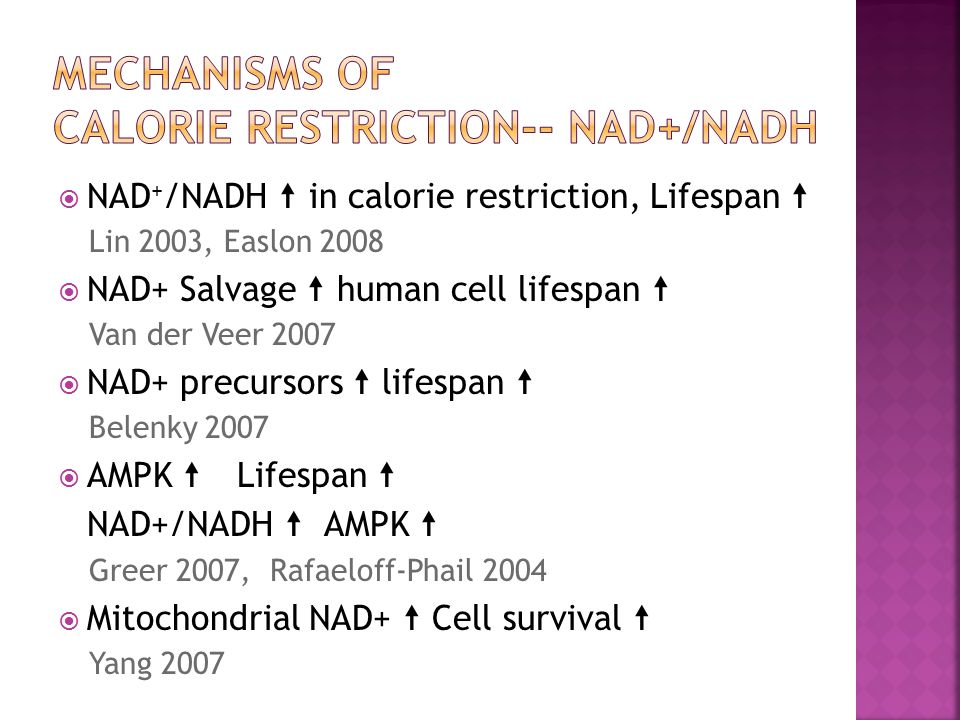 " NAD + /NADH "" in calorie restriction, Lifespan "" Lin 2003, Easlon 2008  NAD+ Salvage "" human cell lifespan "" Van der Veer 2007  NAD+ precursors """