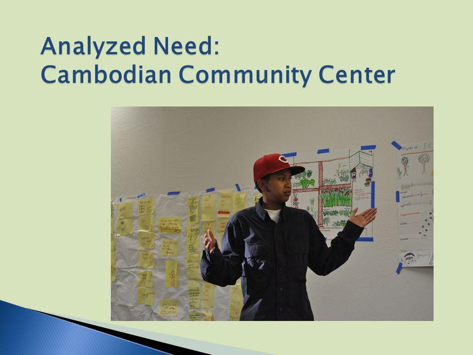 Analyzed Need: Cambodian Community Center
