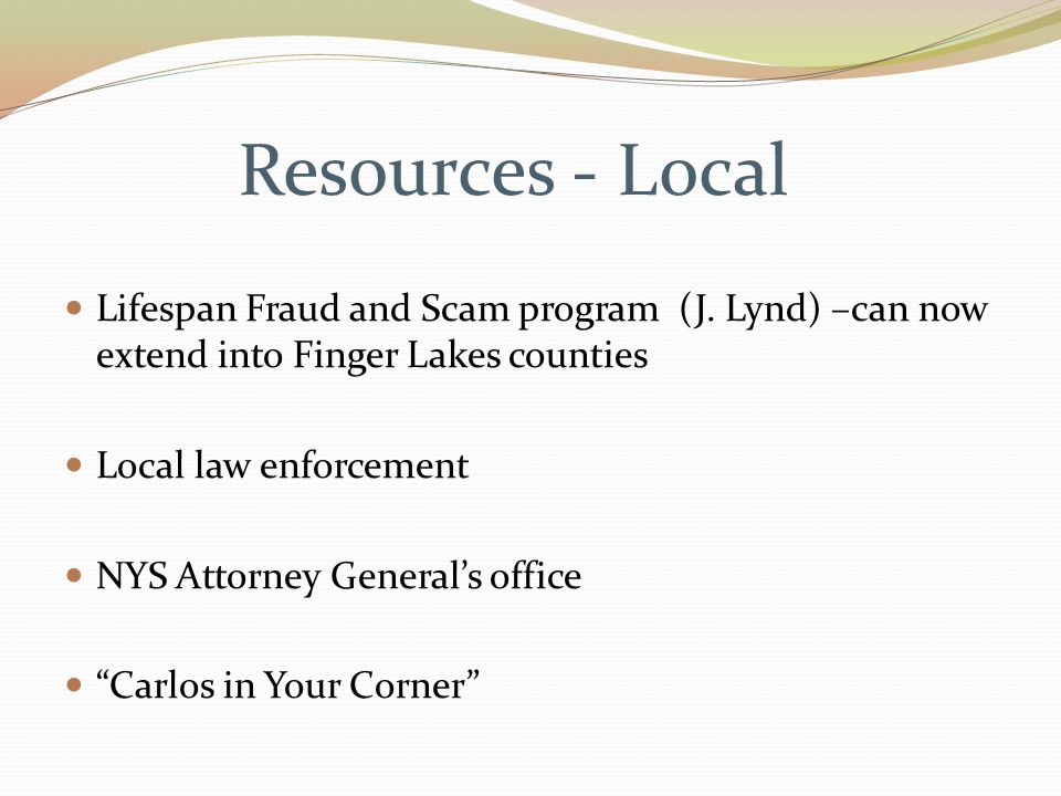Resources - Local Lifespan Fraud and Scam program (J.