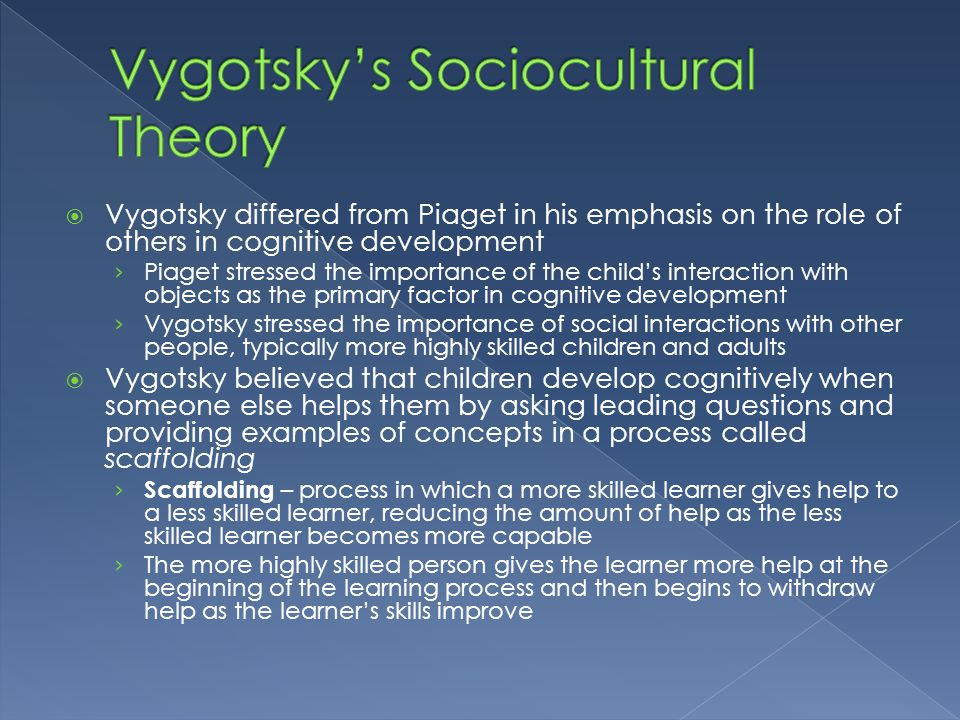  Vygotsky differed from Piaget in his emphasis on the role of others in cognitive development › Piaget stressed the importance of the child's interac