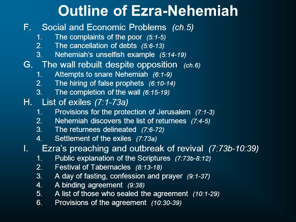 Outline of Ezra-Nehemiah F.Social and Economic Problems (ch.5) 1.The complaints of the poor (5:1-5) 2.The cancellation of debts (5:6-13) 3.Nehemiah's unselfish example (5:14-19) G.The wall rebuilt despite opposition (ch.6) 1.Attempts to snare Nehemiah (6:1-9) 2.The hiring of false prophets (6:10-14) 3.The completion of the wall (6:15-19) H.List of exiles (7:1-73a) 1.Provisions for the protection of Jerusalem (7:1-3) 2.Nehemiah discovers the list of returnees (7:4-5) 3.The returnees delineated (7:6-72) 4.Settlement of the exiles (7:73a) I.Ezra's preaching and outbreak of revival (7:73b-10:39) 1.Public explanation of the Scriptures (7:73b-8:12) 2.Festival of Tabernacles (8:13-18) 3.A day of fasting, confession and prayer (9:1-37) 4.A binding agreement (9:38) 5.A list of those who sealed the agreement (10:1-29) 6.Provisions of the agreement (10:30-39)