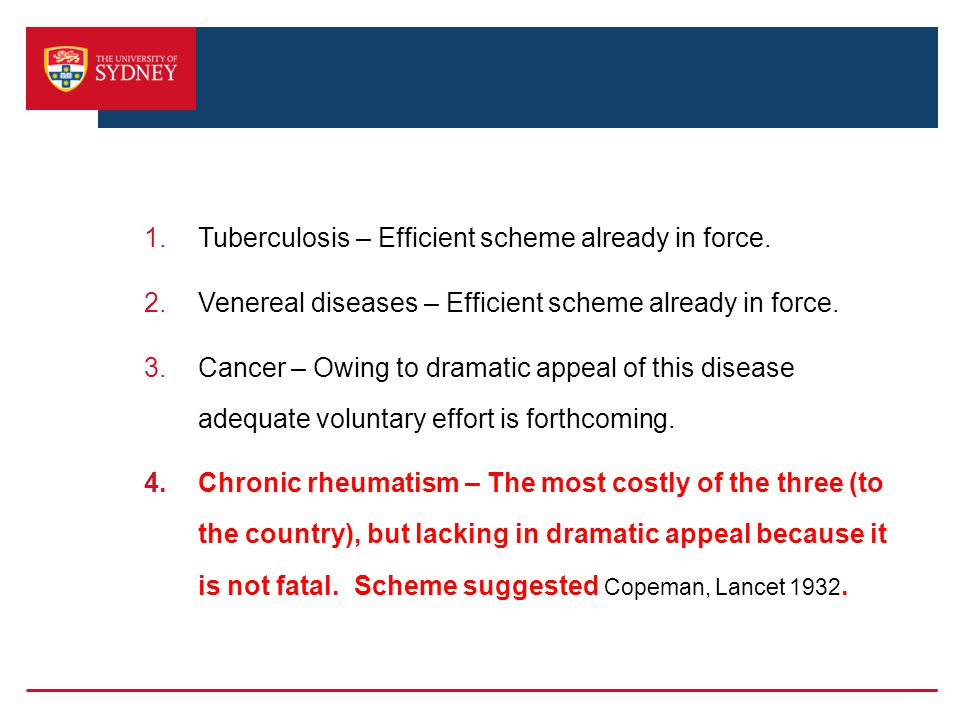 1.Tuberculosis – Efficient scheme already in force.