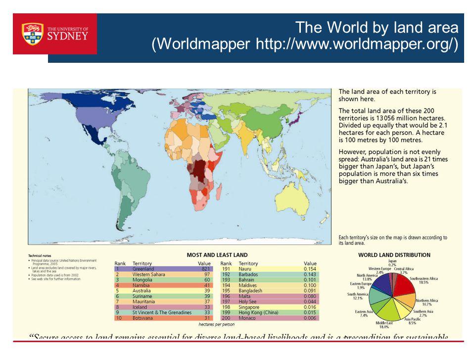 The World by land area (Worldmapper http://www.worldmapper.org/)