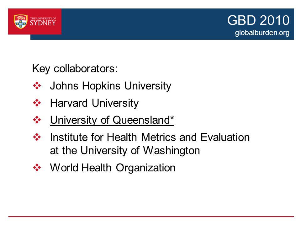 GBD 2010 globalburden.org Key collaborators:  Johns Hopkins University  Harvard University  University of Queensland*  Institute for Health Metrics and Evaluation at the University of Washington  World Health Organization