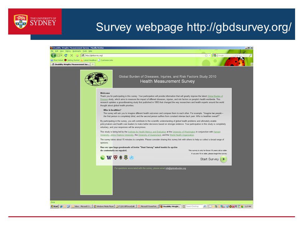 Survey webpage http://gbdsurvey.org/