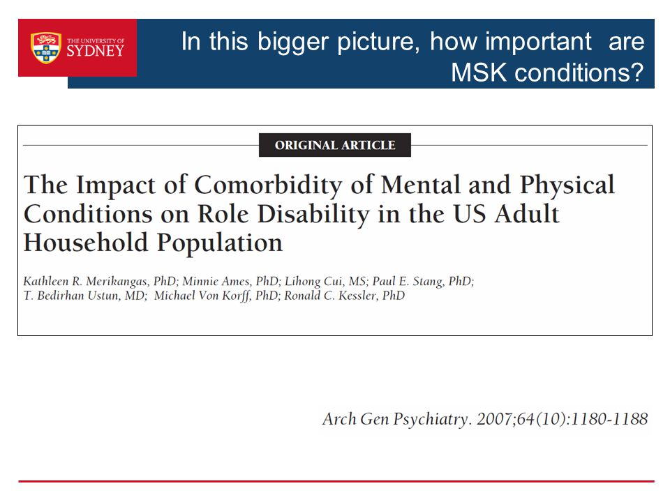 In this bigger picture, how important are MSK conditions?