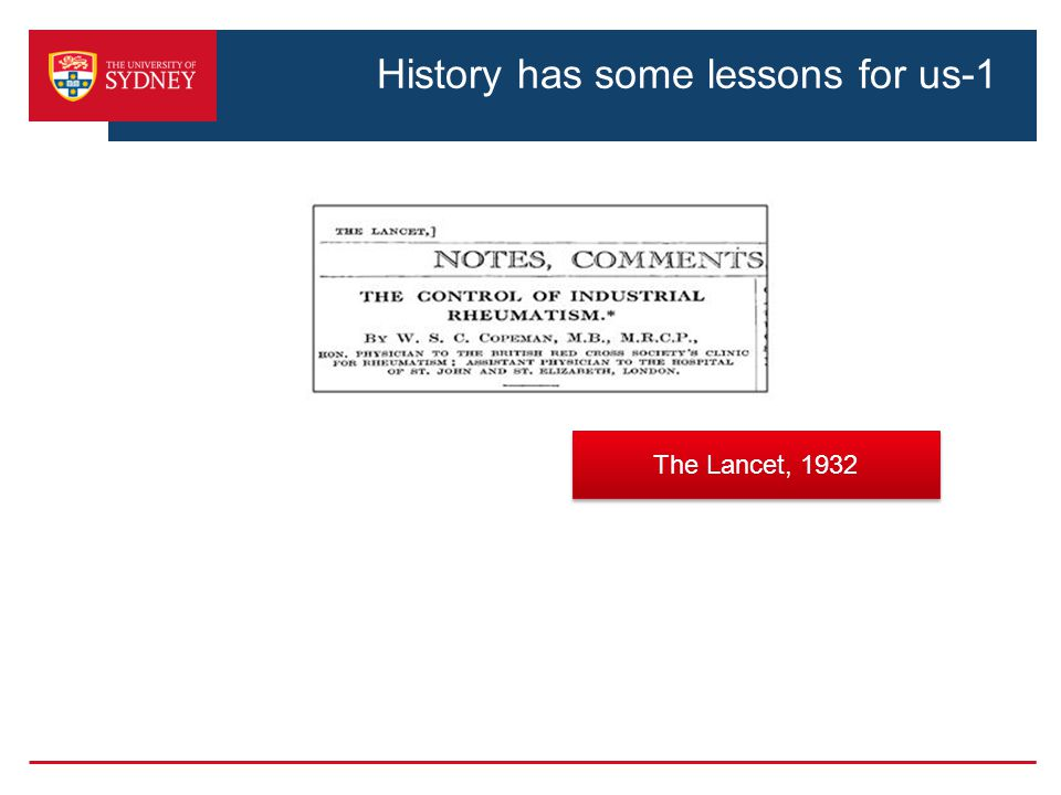 History has some lessons for us-1 The Lancet, 1932