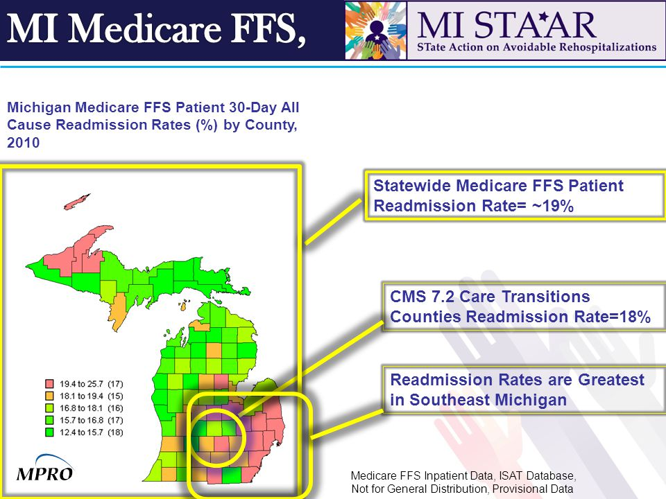 Michigan Medicare FFS Patient 30-Day All Cause Readmission Rates (%) by County, 2010 CMS 7.2 Care Transitions Counties Readmission Rate=18% Statewide Medicare FFS Patient Readmission Rate= ~19% Readmission Rates are Greatest in Southeast Michigan Medicare FFS Inpatient Data, ISAT Database, Not for General Distribution, Provisional Data