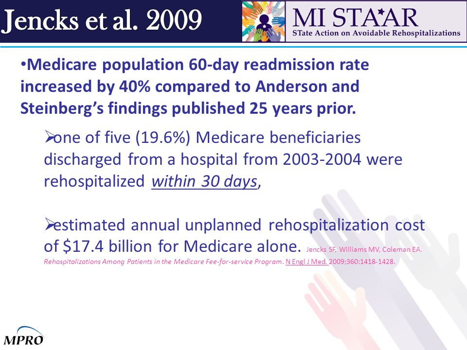 Medicare population 60-day readmission rate increased by 40% compared to Anderson and Steinberg's findings published 25 years prior.