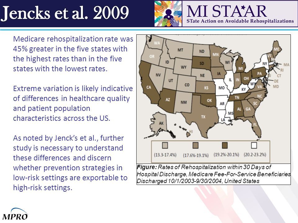 Medicare rehospitalization rate was 45% greater in the five states with the highest rates than in the five states with the lowest rates.