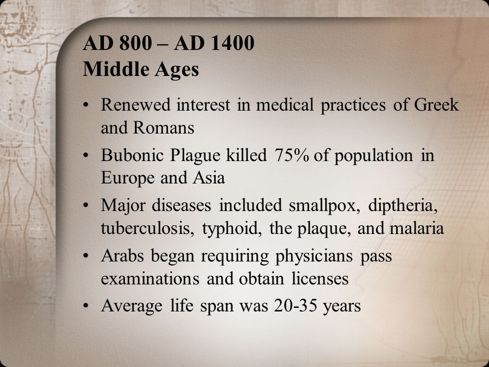 AD 800 – AD 1400 Middle Ages Renewed interest in medical practices of Greek and Romans Bubonic Plague killed 75% of population in Europe and Asia Majo