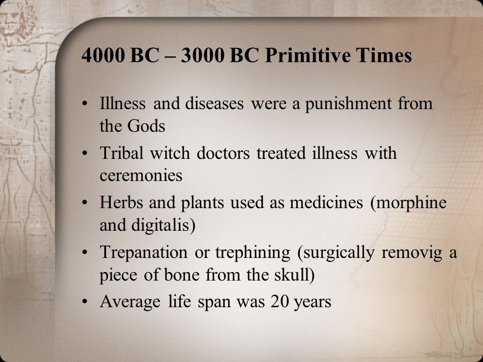 Dark Ages (400-800 A.D.) and Middle Ages (800-1400 A.D.) Terrible epidemics –Bubonic plague (Black Death) –Small pox –Diphtheria –Syphilis –Measles –Typhonid fever –Tuberculosis