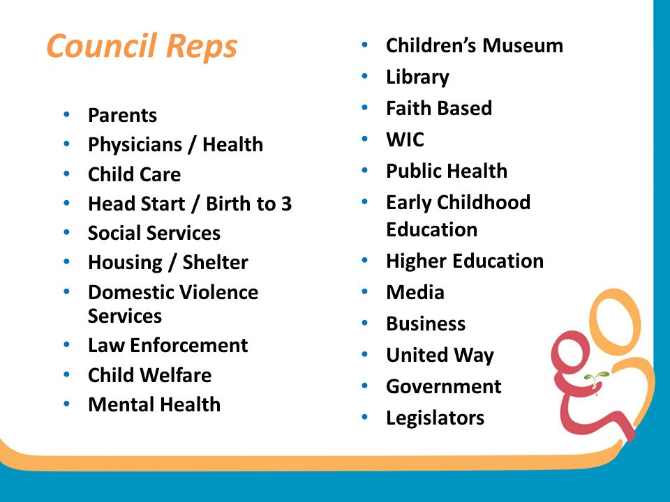 Council Reps Parents Physicians / Health Child Care Head Start / Birth to 3 Social Services Housing / Shelter Domestic Violence Services Law Enforceme