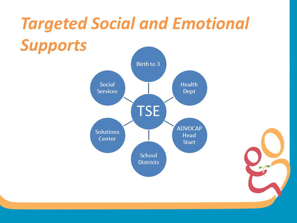 Targeted Social and Emotional Supports TSE Birth to 3 Health Dept ADVOCAP Head Start School Districts Solutions Center Social Services